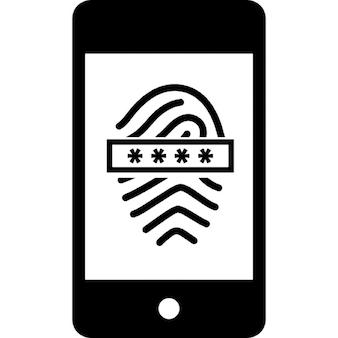 携帯電話でパスワードを使って指紋スキャナ
