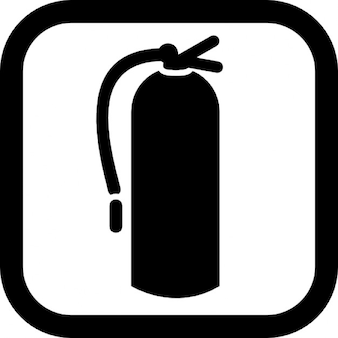 Fire extinguisher with a rounded square border