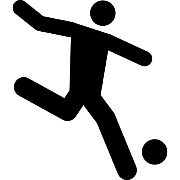 Football player running behind the ball