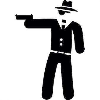 Gangster pointing with a gun
