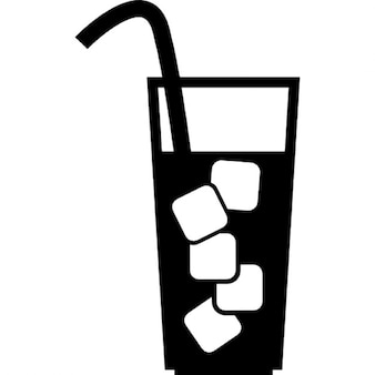 Glass with beverage, ice cubes and straw