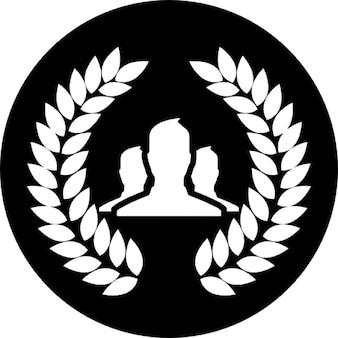 黒い円形の背景に花輪を持つグループのユーザー