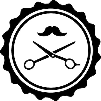 Hair salon badge with scissors and mustache
