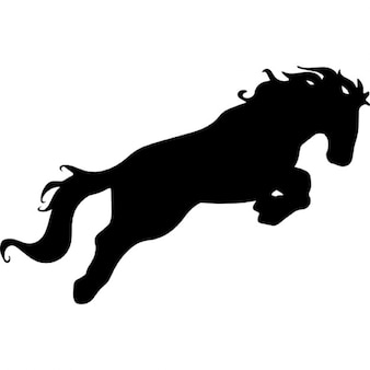 Horse attacking motion silhouette
