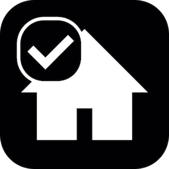 House on square background with check mark