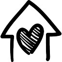 House with heart hand drawn building