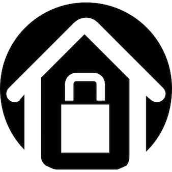 House with lock outline on a circular black background