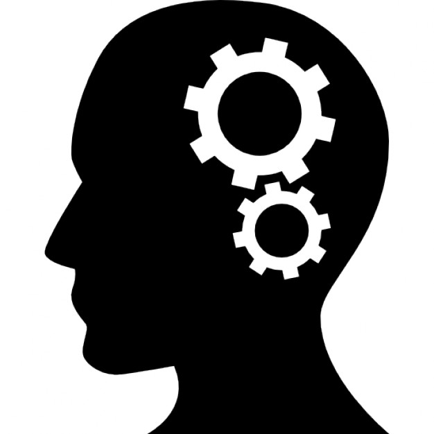 Human head silhouette with cogwheels