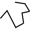 Irregular line of straight lines and angles