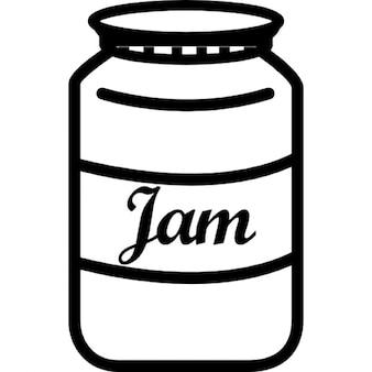 Jam jar with label