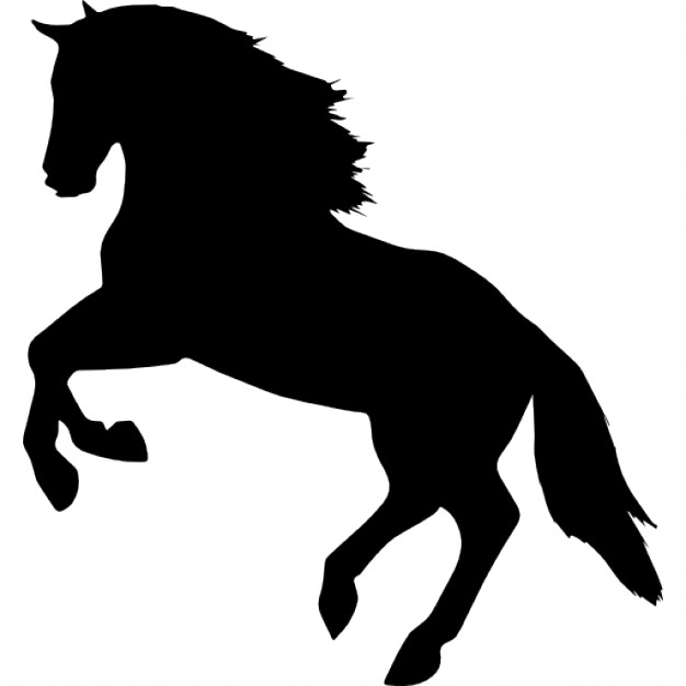 Jumping horse silhouette facing left side view
