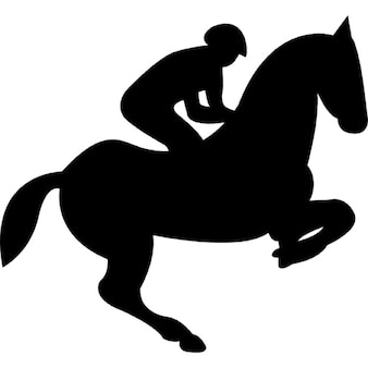 Jumping horse with jockey silhouette