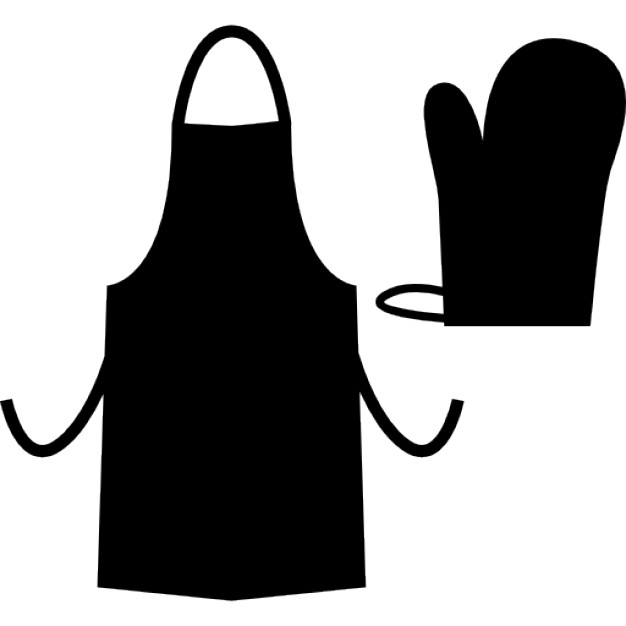 Kitchen apron and glove