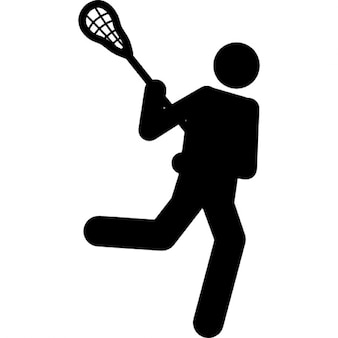 Lacrosse silhouette of a person with a racquet