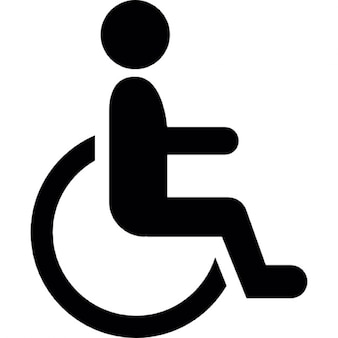 Male cartoon on wheel chair