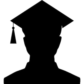 Male university graduate silhouette with the cap