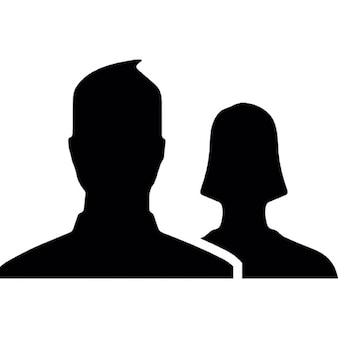 Man and woman close up silhouettes for Facebook