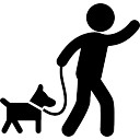 Man carrying a dog with a belt to walk