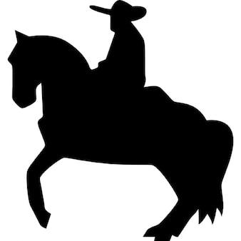 Man riding on a horse silhouette of flamenco