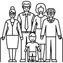 夫婦の祖父母と子供