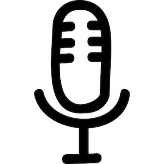 Microphone hand drawn voice interface symbol outline