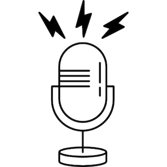 Microphone outline with opened line