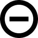 Minus circular outlined button interface symbol