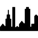 New York panoramic buildings silhouette