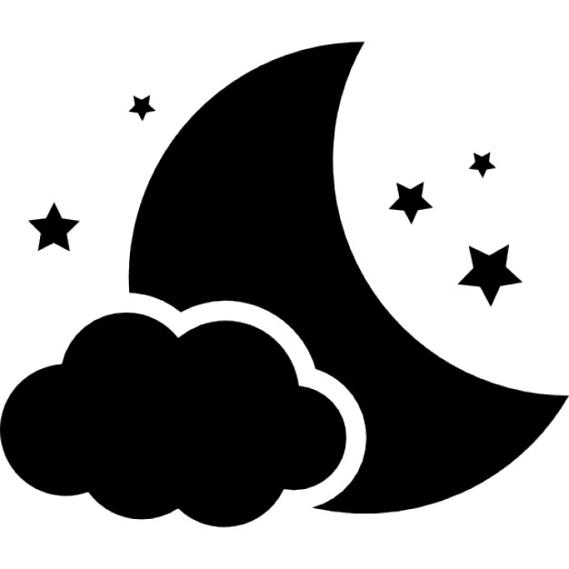 Night symbol of the moon with a cloud and stars