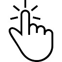 One finger tap gesture of outlined hand symbol