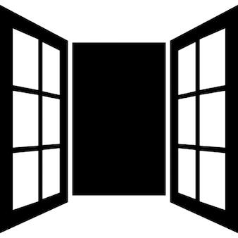 Opened window door of glasses