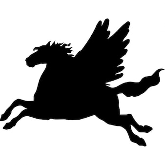 Pegasus winged horse black side view silhouette shape