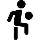 Person kicking ball with the knee