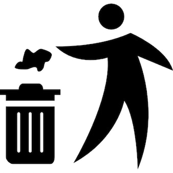 Person throwing paper to a trash can