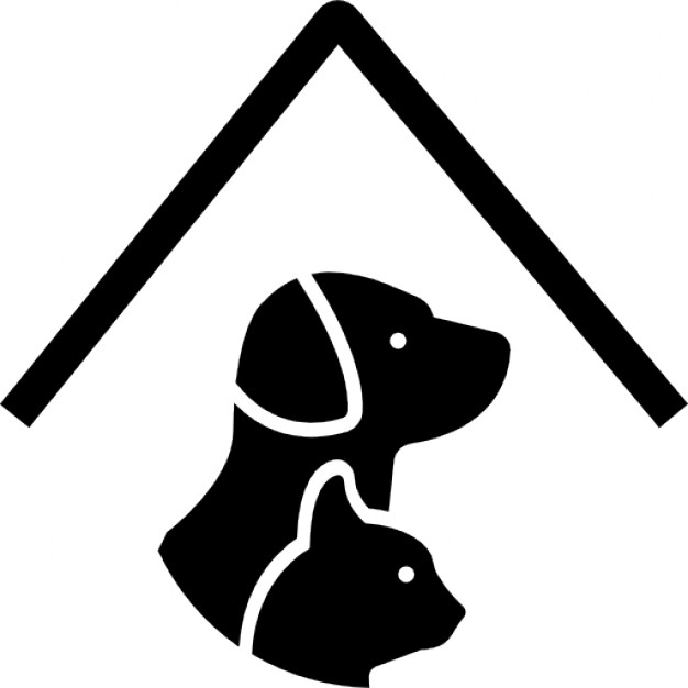Pet hotel sign with a dog and a cat under a roof line