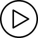 円形ボタンのアウトラインの矢印の三角形を再生