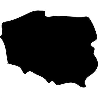 Poland country map silhouette