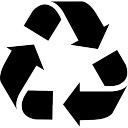 Recycle triangular symbol of three arrows rotation