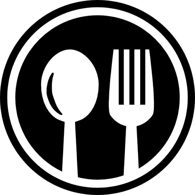 Restaurant cutlery circular symbol of a spoon and a fork in a circle