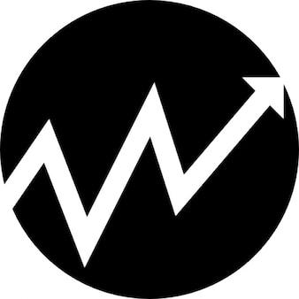 黒い円形の背景でジグザグの矢印を上昇