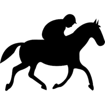 Running horse with jockey black silhouette from side view