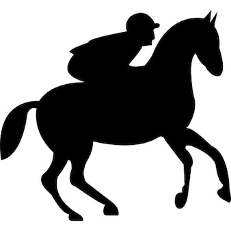 Running horse with jockey