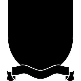 Shield badge with ribbon at the bottom