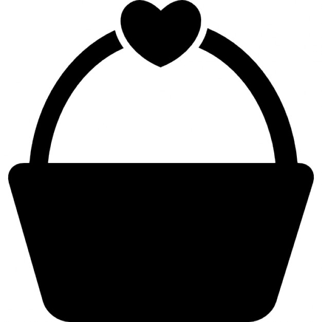 Shopping or picnic basket with a heart shape