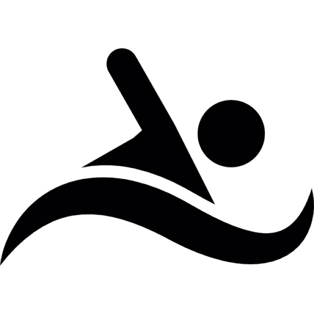 Silhouette of a swimming person on a wave