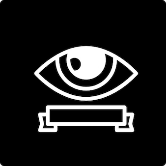 Surveillance eye symbol with a banner inside a square