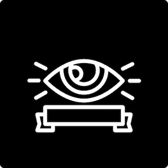 Surveillance symbol of an eye and a banner in a square