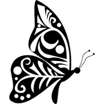 Tribal wings design butterfly side view