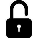 ロック解除された鍵、黒のセキュリティシンボル