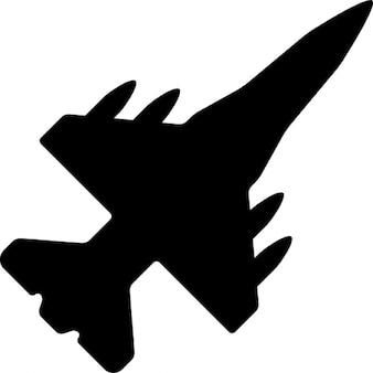 War airplane bottom view black shape